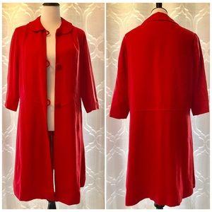 Vintage Retro Red Long Coat Dress Jacket Overcoat